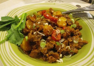 خوراک دل مرغ خوشمزه و مخصوص ماه رمضان